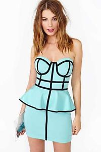 Nasty Gal Inspired Follow The Line Peplum Dress Sky Blue Black Cage Dress Small | eBay