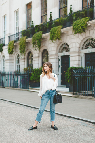wishwishwish blogger shirt jeans shoes bag sunglasses blue jeans cropped jeans gucci loafers gucci gucci shoes top white top blouse white blouse bell sleeves ysl ysl bag black bag shoulder bag spring outfits black loafers