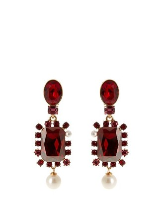 embellished earrings burgundy jewels