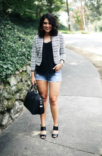 life & messy hair blogger jacket shorts bag jewels shoes tank top