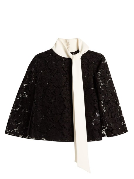 Valentino top lace top sheer lace white black
