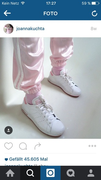 shoes rose joanna kuchta adidas stan smith pink pants pastel pastel pink silk
