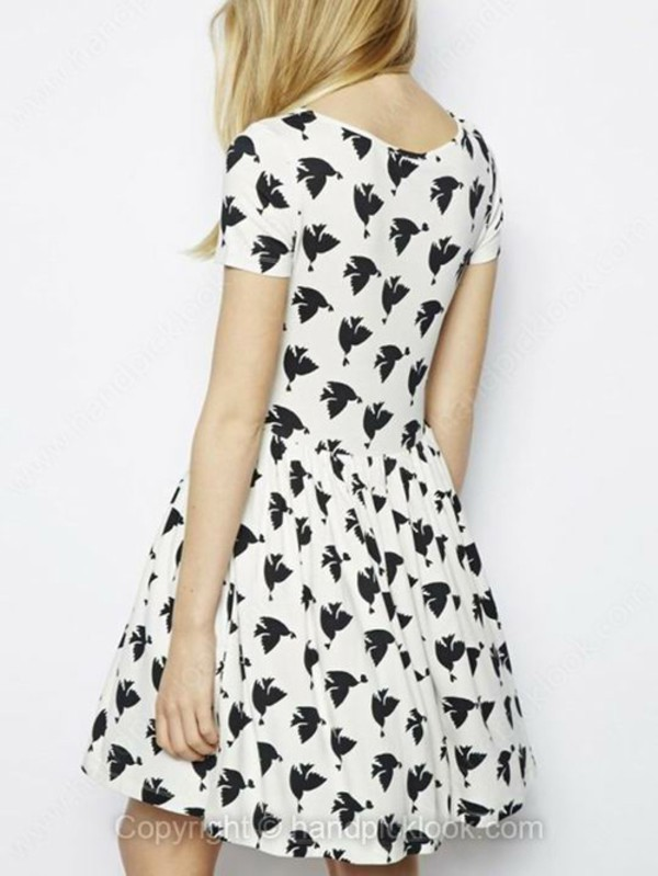 monochrome black and white bird print dress short sleeve prom dress flare summer dress