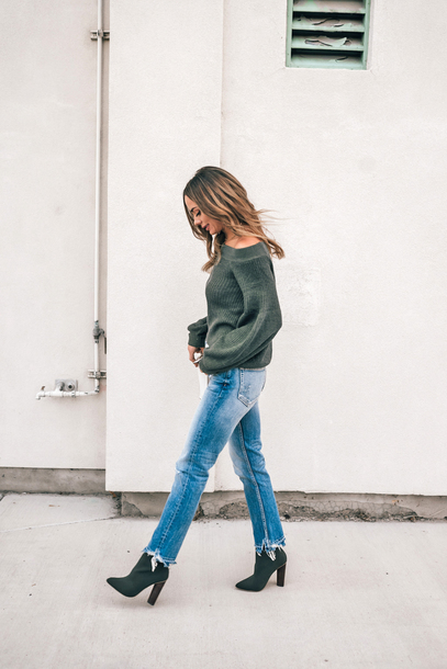 sweater tumblr green sweater denim jeans blue jeans boots green boots knit knitwear knitted sweater