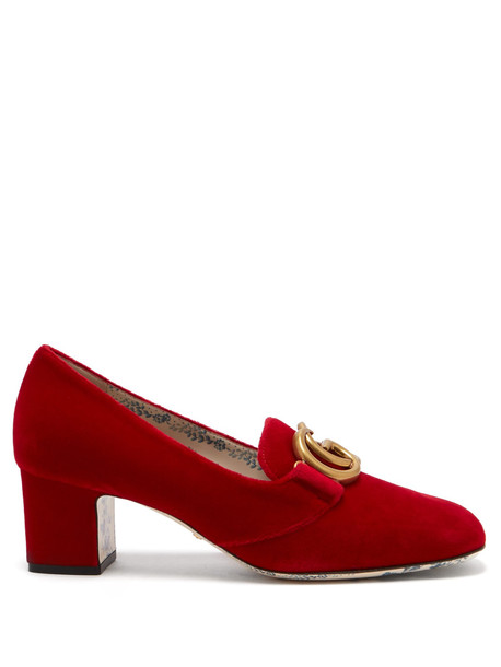 GUCCI Victoire GG velvet pumps in red