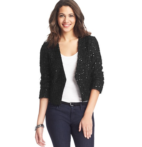 Sequin Knit Open Jacket | Loft
