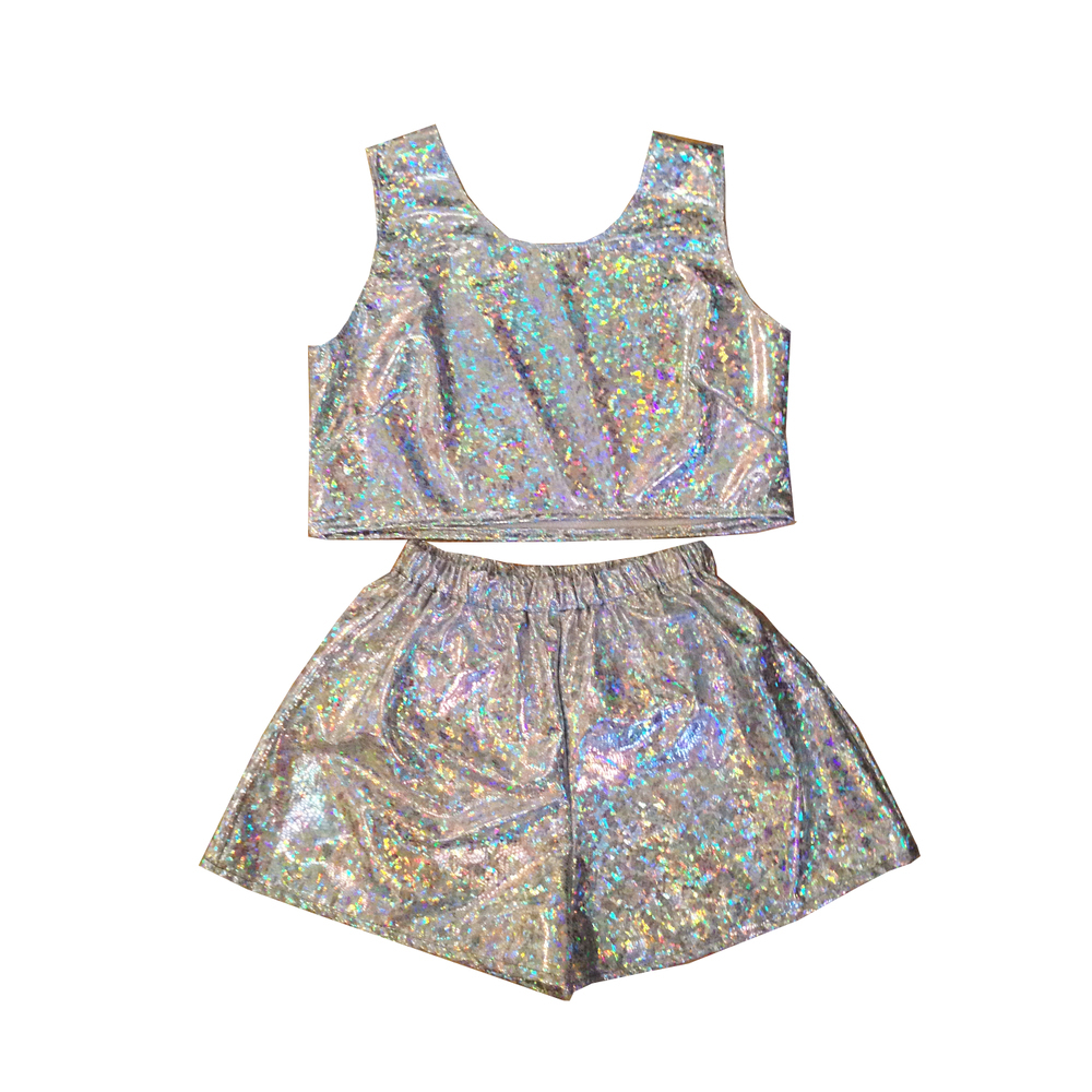 Karizma holographic top and shorts two piece co