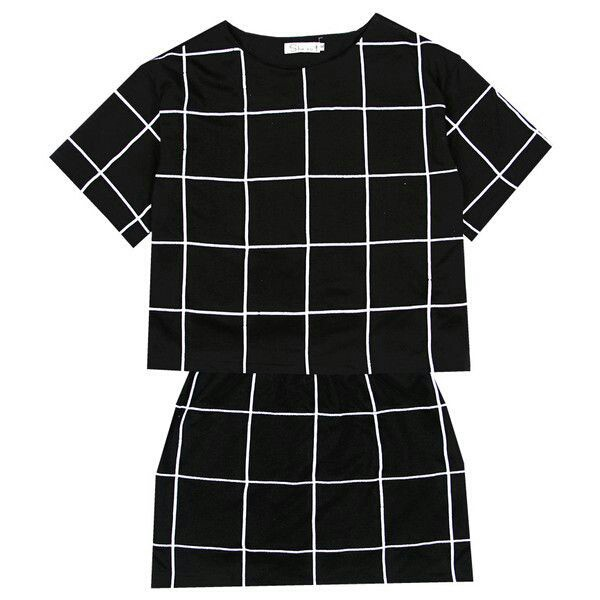dress black stripes shirt skirt set