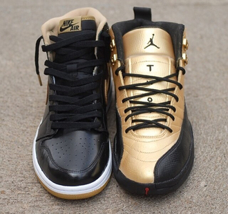 shoes jordan jordans shoes jordan 1s gold black nike nike shoes running running shoes