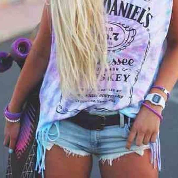 shirt jack daniel's beautiful :) t-shirt tank top tie dye fringes hipster jack daniel's summer top blouse tie dye sweater tank top distressed denim shorts jack daniels shirt bag whiskey neon jack danielsen shirt purple white