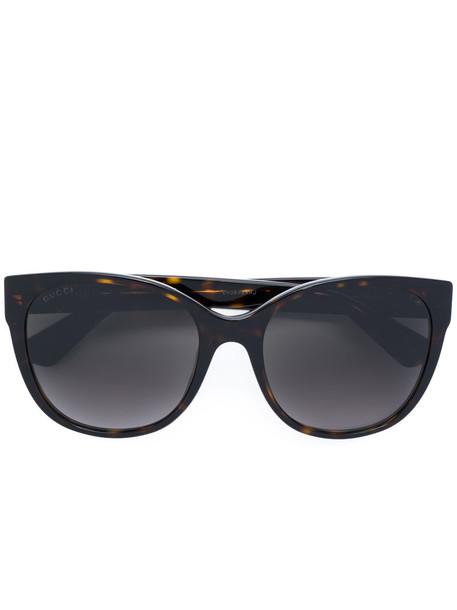 Gucci Eyewear - round frame sunglasses - women - Acetate - 56, Brown, Acetate