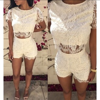 romper lace rose wholesale lace crop top crop tops lace shorts high waisted summer casual boho hipster fashion pretty
