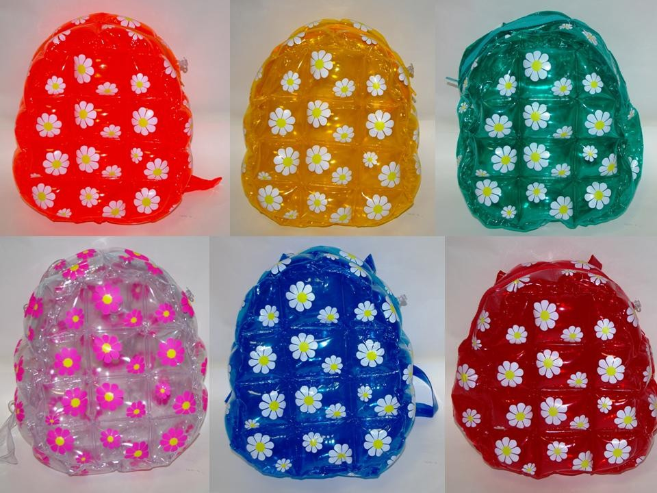 PVC INFLATABLE BACK PACK WITH FLOWER DECORATIONS DAISY BAGS 28-96