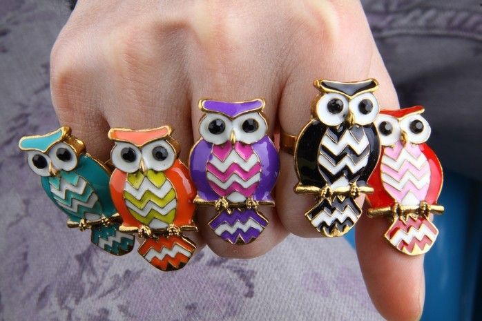 Aliexpress.com : Buy Awesome Colorful Oil Owl Inlaid Crystal Rings for Girls, owl ring jewelry for ladies, unique owl ring for women from Reliable jewelry ring storage suppliers on Addfashion