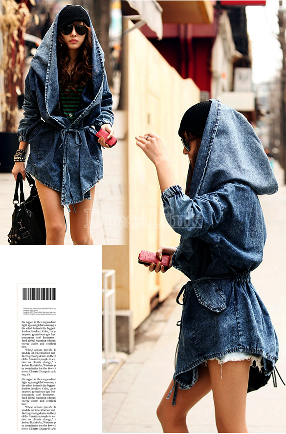 Women's Denim Trench Coat Hoodie Hooded Outerwear Jeans Jacket Coat