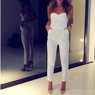 dress jumpsuit white high heels wedge watch heart mirror fashion ankle boots sofisticated