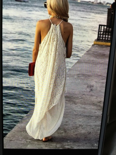 dress white lace long