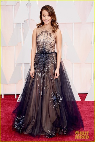 dress yanina couture dress jamie chung oscars tulle dress high neck royal blue dress beaded dress oscars 2015