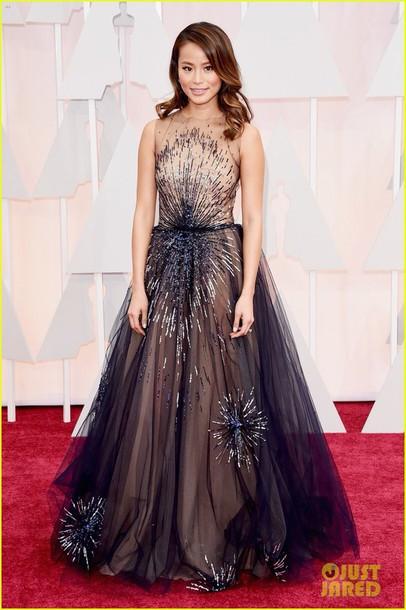 dress yanina couture dress jamie chung oscars tulle dress high neck royal blue dress beaded dress oscars 2015