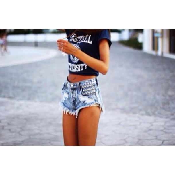 top shorts denim shorts studs cut off shorts High waisted shorts