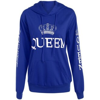 sweater hoodie blue jumper long sleeves fall outfits warm trendy queen quote on it sporty trendsgal.com