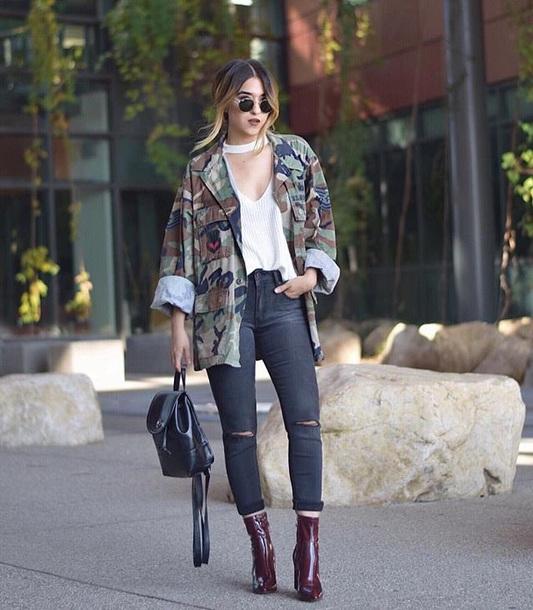 jacket camouflage camo jacket top white top denim jeans black jeans backpack black backpack boots sunglasses