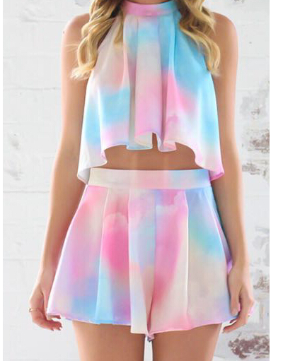 Cute colorful rainbow two piece dress