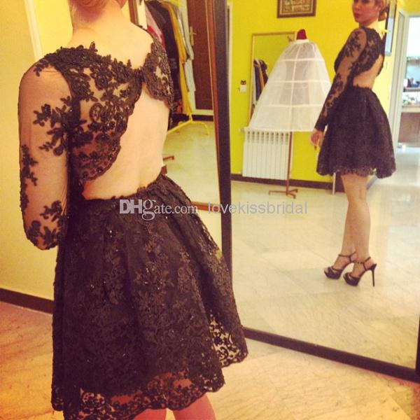 Discount 2015 sexy sheer long sleeve prom dresses scoop online with $87.96/piece