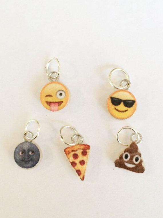 Polymer clay emoji charms, face charm, emoji, polymer clay charm, pizza charm, moon charm,emoji charm