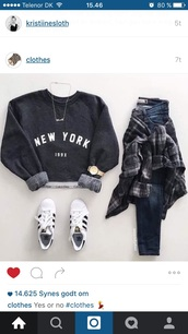 sweater,shirt,croped swater,black,new york city,blouse,grey,cool,new,york,girl,long sleeves,grey sweater,necklace,skinny jeans,white sneakers,adidas,watch,plaid,sweatshirt,black sweater,jewels,script necklace,jewelry,new york necklace,gold necklace,cropped sweater,streetstyle,jacket,something like this,new york sweater,hoodie,blue,baggy sweaters