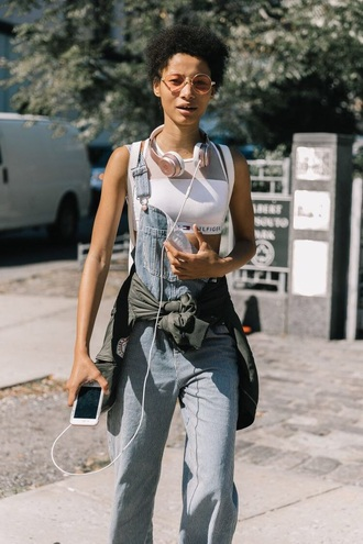 top sunglasses round sunglasses overalls headphones crop tops white top sports bra dungarees tommy hilfiger