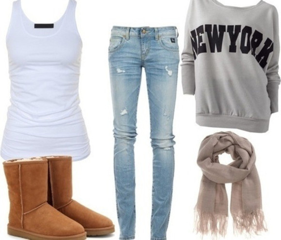 sweater loose fit sweater oversized sweater scarf clothes winter boots jeans new york winter outfit