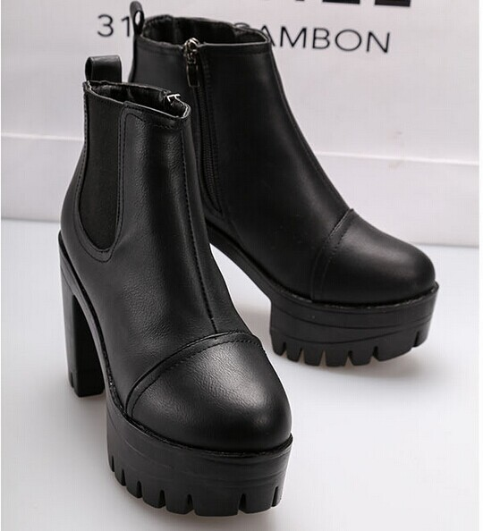 The autumn tide high shoes new crude with waterproof zipper's ultra high heel boots ankle boots black size35 39 B144-in Boots from Shoes on Aliexpress.com | Alibaba Group