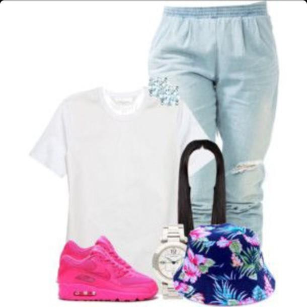 hat joggers pants white crop tops jeans blouse shoes