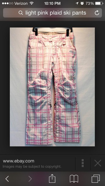 pants pink plaid ski pants ski pants