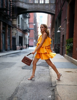 the classy cubicle blogger dress bag shoes ruffle dress yellow dress mini dress sandals high heel sandals