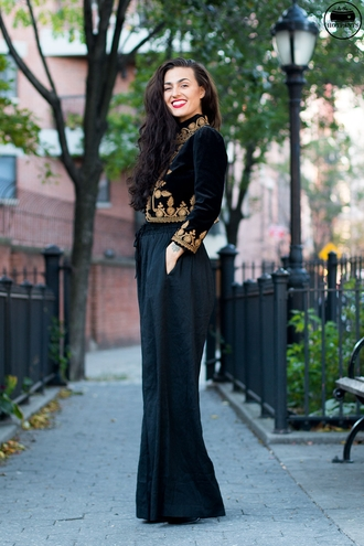 do the hotpants blogger cropped jacket velvet wide-leg pants