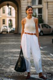 pants,baggy pants,white pants,top,shoes,bag