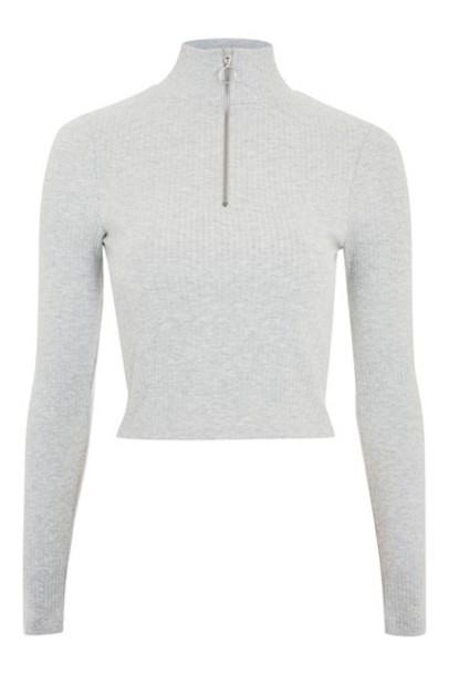 Topshop top long zip grey