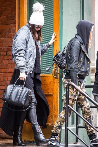hat cardigan winter sweater kendall jenner streetstyle pants leather pants