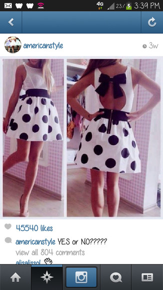 dress polka dots backless dress bows