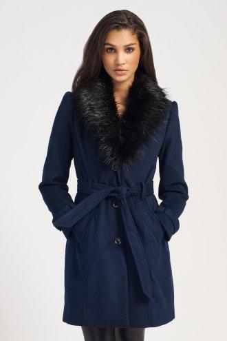 Navy & Black Fur Trim Button Die Waist Tie Coat