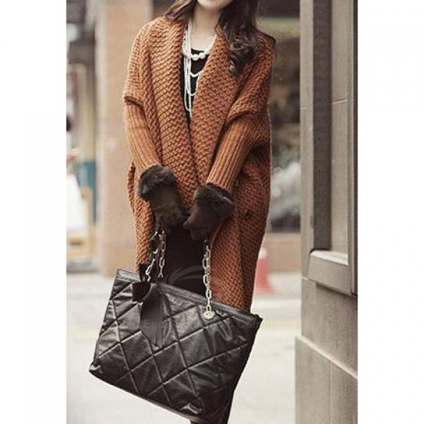 Turndown Collar Noble Style Batwing Sleeve Brown Cardigan For Women