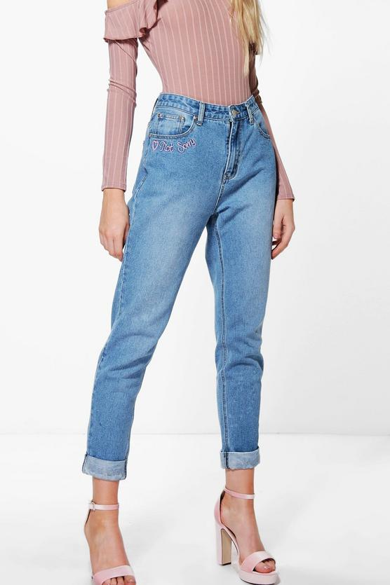 Sophie High Waist Slogan Hem Mom Jeans | Boohoo
