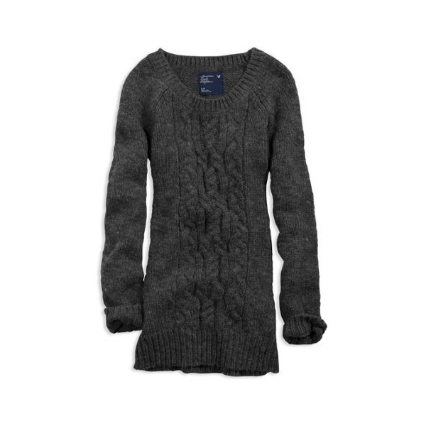 AE Women's Cable Knit L Sweater (Grey)