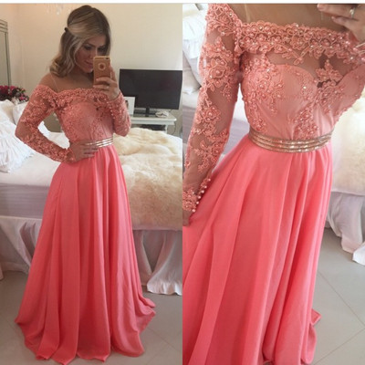 d62846f259f A-line Long Sleeve Prom Dresses