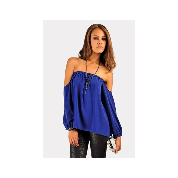 Perfection Off The Shoulder Top Royal Blue - Polyvore