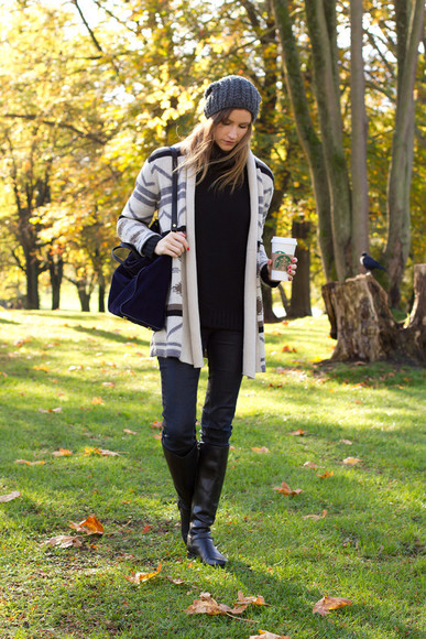 styling my life blogger bag jeans cardigan knitted beanie