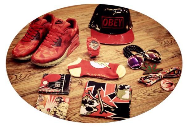 jewels nike sunglasses snaback g-shors turban red shoes socks
