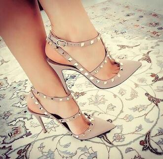 shoes studded shoes heels beige shoes